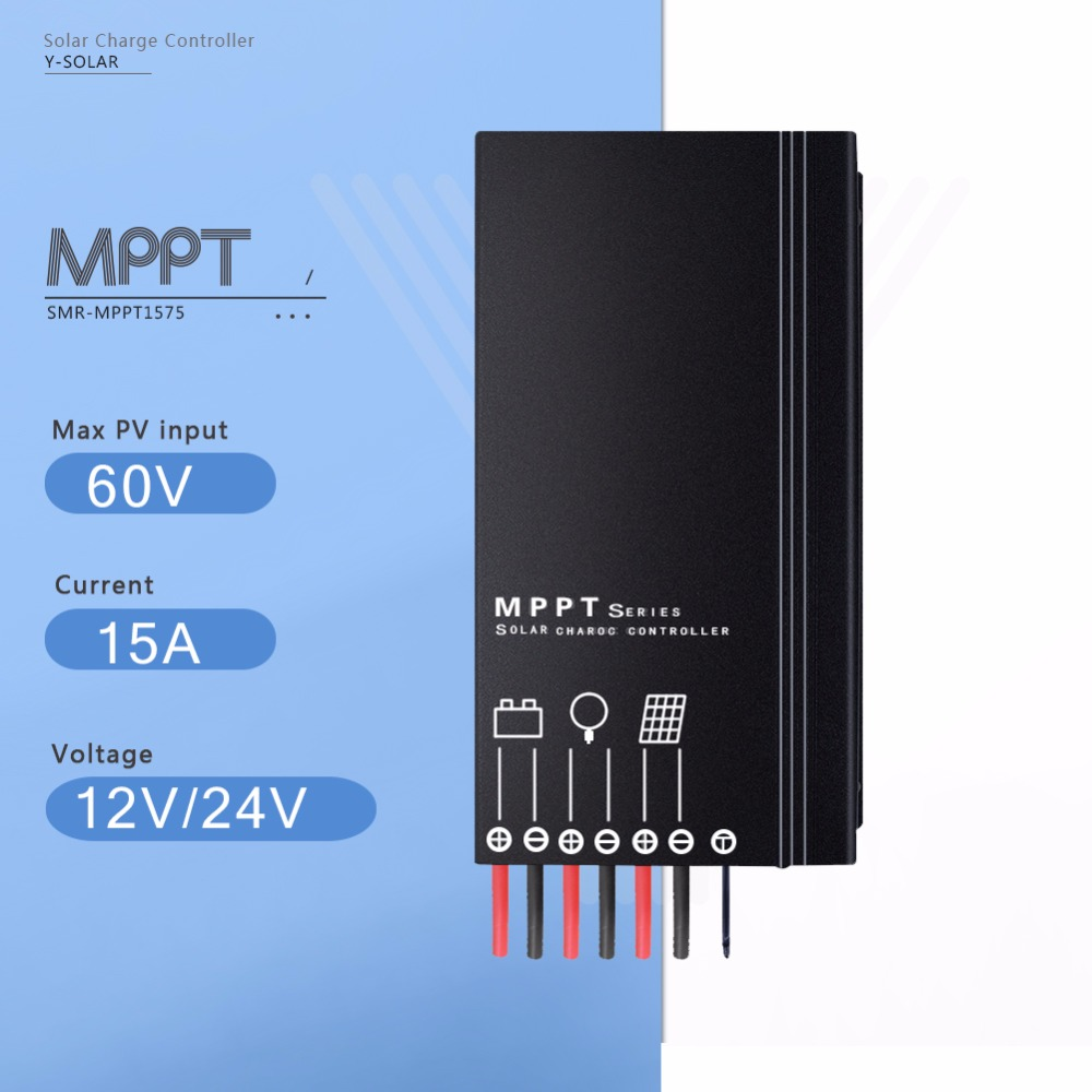 MPPT 15A Solar Charge Controller 12V/24V Auto Solar Battery Charge Regulator with 5 Stages Time Adjustment and IP67 Waterproof<br>