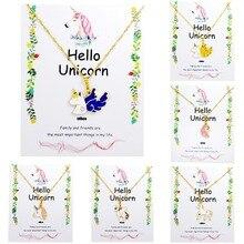 Unicorn Necklace Card Pendant Wihoo Horse Women Pendant Children Girls Cute Fashion Jewelry Gift Kids Enamel Party Gold(China)
