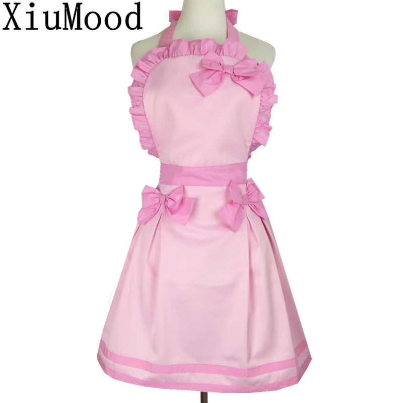 XiuMood Fashion Maid Cute Pink Bow Lace Decoration Polyester Cotton Lady Kitchen Cooking Food Garden Apron Mother Woman Gift(China (Mainland))