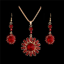 H:HYDE Gold Color Red Sunflower Rhinestone Crystal Necklace Earrings Set Flower Wedding Jewelry Sets Nice Shipping