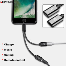 Earphone Headphone Adapter Splitter iPhone x 7 8 Plus Audio Charger Adapter Cable Splitter Support IOS 11 Call Music Remote