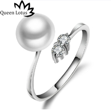 Queen Lotus Classic Luxury Pearl Ring Silver Color Wedding Rings For Women Lady Adjustale Size Jewelry Gift(China)