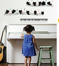 Children Home Decoration Decals Creative DIY Black Cat And Musical Note Piano Home Decor Wall Stickers Piano Room Wallpaper