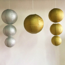 Mixed szie 15/20/30cm Gold Silver Chinese Tissue Paper Lantern Hanging Wedding Decorations Babyshower Party Supplies Lampion