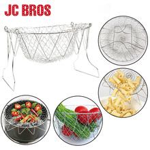 1 Pc Foldable Stainless Steel Filter Steam Rinse Strainer Collapsible Colander Mesh Basket Kitchen Sieve Fry French Chef Basket