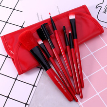 O.TWO.O 7pcs/lot Red Color Make Up Brushes Set Cosmetics Brush Set Beauty Eye Primer Powder Blush Brush With Pag