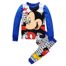 Spring Autumn Kids Baby Girls Boys Pajama Cartoon kids pajama set Tops+Pants Set Minnie Mickey print Sleepwear 2pcs Outfits