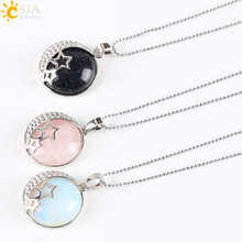 CSJA Reiki Chakra Yoga Semi Precious Natural Stone Pendant Rose Crystal Necklace Female Jewelry Love Moon Stars Back Hollow E175