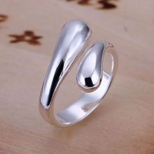 Lose Money Promotion Resizable Rings for Women Silver Jewelry fashion Jewellery Double Round Head Water Drop Shape Ring-Opend