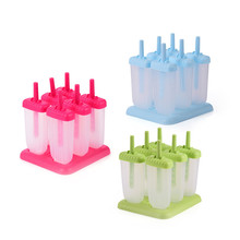 Set of 6 Ice Pop Maker,DIY Ice Cream Popsicle Molds with Sticks, FDA Approved Plastic PP BPA Free Reusable Homemade Tools(China)