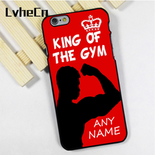 LvheCn phone case cover for iPhone 4s 5 5s 5c SE 6 6s 7 8 plus X ipod touch 4 5 6 King of Gym flexing muscles personalised name