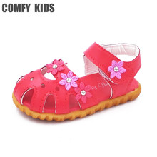 Comfy kids summer baby sandals shoes flower soft bottom fashion infant sandals shoes for baby girls sandals 13-15CM Shoes(China)