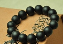 hand massage 12mm beads Real Bianshi Jade Black Bian Natural Stone Bracelet Carve Black Jade Bracelet byanshi(China)
