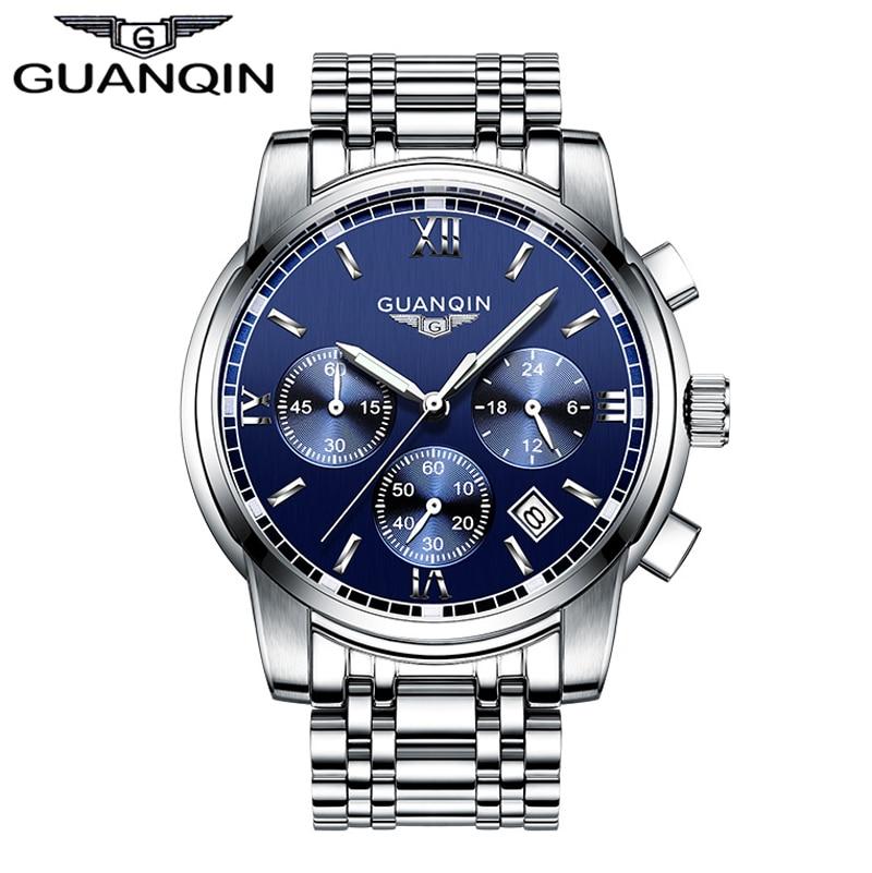 2017 Mens Watches Top Brand Luxury GUANQIN Three Dial Work Stainless Steel Waterproof Luminous Mens Watches Quartz-watch Men<br>