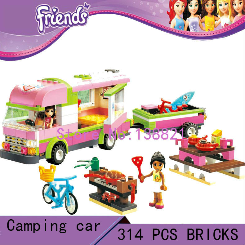 DIY Educational Toys for children girl camping car  Blocks self-locking bricks Compatible with Lego friends 3184<br>