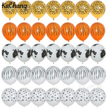 100pcs 3.2g Printed Cow Tiger Leopard Dog claws Latex Balloons Birthday Farm Theme Animal 12'' Tiger pattern Helium Party Decor(China)