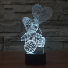 Baby Kids Night Lamp Color Change Sensor LED Bear Night Light 3D Heart Balloon Home Room Decoration Xmas Gift for Friends