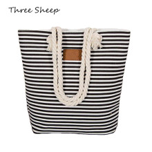Stripe Black Handbag Canvas Woman Shopping Bag Women Cheap Hand Bags Beach Bag Canvas Tote Bags Shoulder Sac a Main