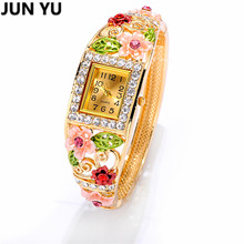 JUNYU Boho Style Gold  Handcrafted Cloisonne Butterfly Bangle Bracelet Quartz Wristwatch Crystal Round Dial  Watches 6 Color