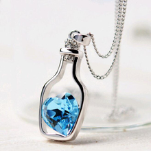 Creative Women Fashion Necklace Ladies Popular Style Love Drift Bottles Pendant Necklace Blue Heart Crystal Pendant Necklace(China)
