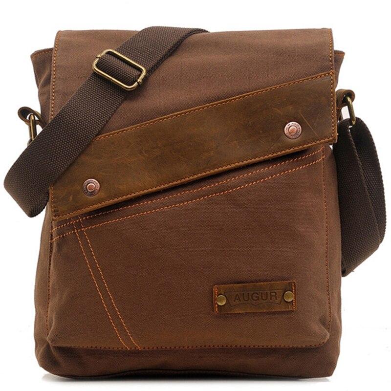 Augur Vintage Shoulder Bag Men Canvas Leather Messenger Bags School Satchel Business Packs Travel Crossbody Bag Leisure Pack<br>