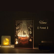 Multi Layer 3D Home LED Paper Cutting Nightlight Carved Paint Table Light Bedroom Kids Room Fixture Desk Lamp Cartoon Art