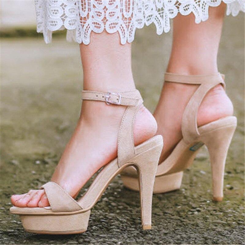 Elegant Women Sandals Ankle Wrap Summer Platform Shoes Woman Gladiator Thin High Heels 11CM Women Pumps Wedding Dress Shoe<br><br>Aliexpress
