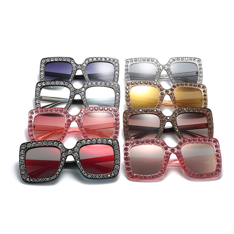 2018 New Luxury Brand Designer Ladies Oversized Square Sunglasses Women Diamond Frame Mirror Sun Glasses For Female D5702-13