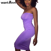 Wantmove 7 colors 2017 New fashion Vestidos Women Summer Wear Dresses Pink Purple Sexy Sleeveless Strapless Party Wear XD586