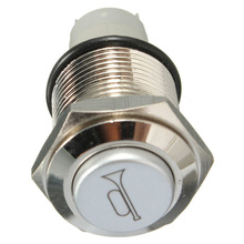 Mayitr 1PCS 16mm Blue LED Car Momentary Push Button Horn Metal Switch For Auto Boat Speakers Bells Horn Switch 12V 5A