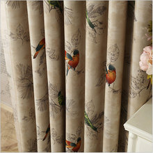Blackout Curtains for Living Room American Rustic Decorative Kitchen Window Birds Printed Bedroom Curtains Panel(A123)(China)