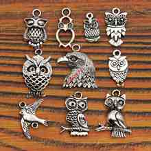 Mixed Tibetan Silver Plated Birds Owl Charm Fashion Pendants for Bracelet Necklace Jewelry Diy Findings Handmade Accessories