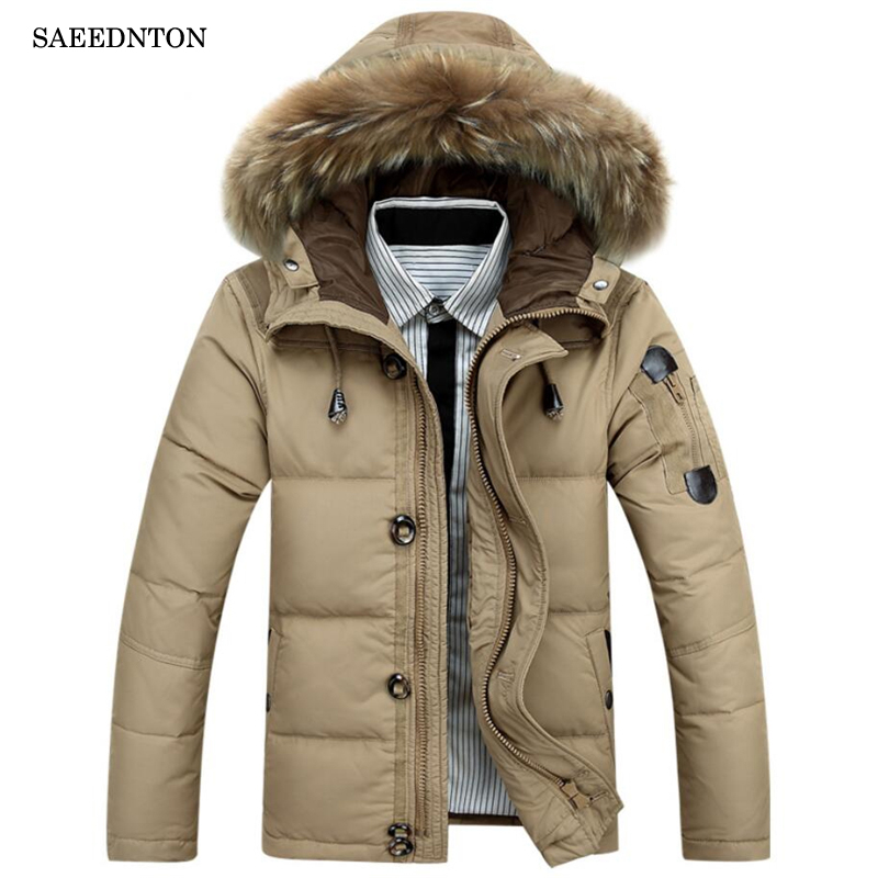 2018 Men Down Jacket High Quality Brand Clothing Casual Winter Jacket Men Hooded Fur Collar Zippers Duck Down Jacket Men Clothes