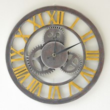 Vintage roman numerals large decorative wall clock old-fashioned nostalgic living room wall decor clocks home decoration watch(China)