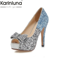 KARINLUNA 2017 Large Size 34-43 Peep Toe Platform Women Shoes Woman Sexy Bowtie Bling Thin High Heels Party Wedding Pumps(China)