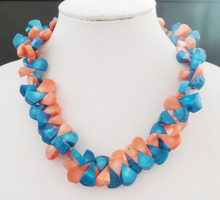 Hey! ! ! beautiful   Pink and green  classic coral necklace  45cm