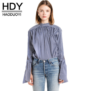 Hdy haoduoyi dulce casual chic mujeres tops sexy elegante volver único breasted blusa otoño manguito lazo suave floja camisa a rayas