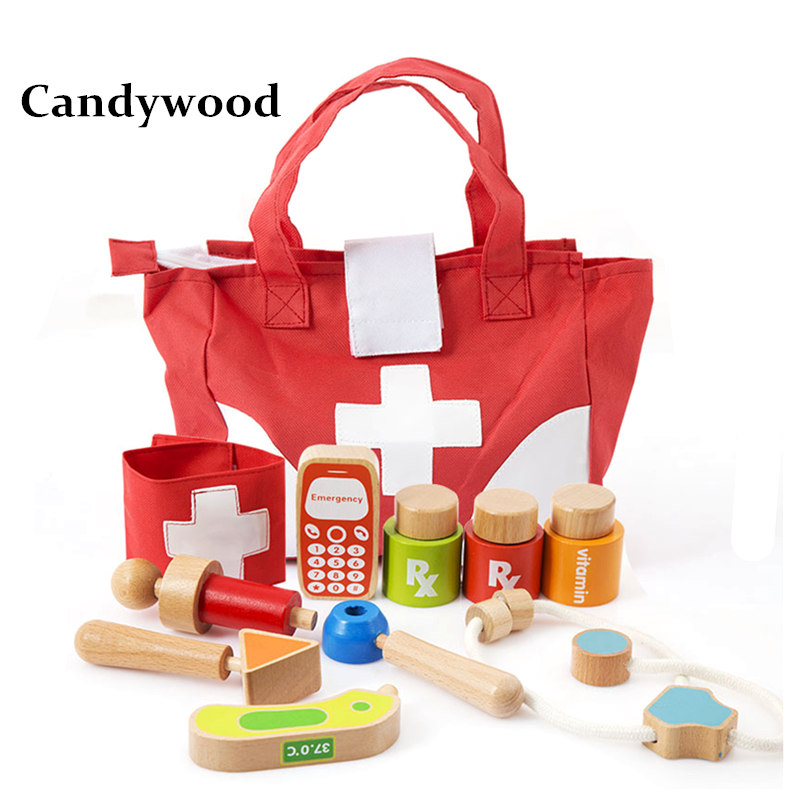 Candywood Kids Role Play Doctor Nurses Toy Set Medical Tool bag Kit Educational wooden toys Doctor toy for Children boy&amp;girl<br>