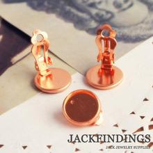 12mm 10pcs 18K Gold Plated Copper Ear Clips Crown Earring Settings Bases Earring Cabochon Cameo(China)