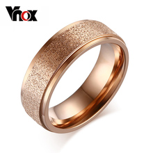 Vnox Fashion Rose Gold-Color Rings For Women Wedding Engagement Ring Sand Blasted Stainless Steel Jewelry