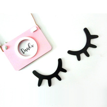 2pcs 3D Sleepy Eyes Wooden Ornament Black DIY Cute Eyelash Closed Eye Baby Room Wall Decoration Sticker Wood ornaments Kids Gift