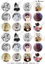 24Pcs Round 18mm Cabochons European Style Mix Royal Cat Sailor Sign Cartoon Image Glass Cabochon(China)