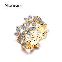 NEWBARK Elegant Flower Rings Composed Of 10 Butterflies Paved Tiny CZ Stone Fashion Rings For Women Perfect Accessories Jewelry