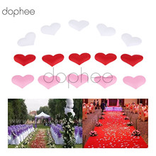 dophee 100pcs DIY Fabric Heart petals Artificial flower petals Wedding Party Confetti Table Decoration birthday party Supplies(China)