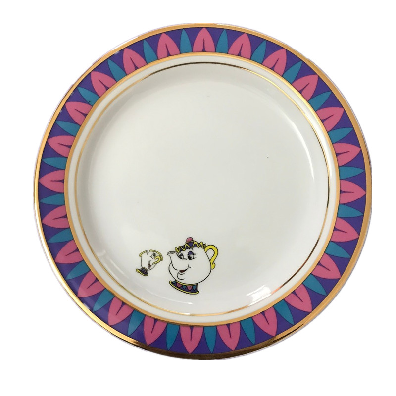 20CM-beauty-and-the-beast-ceramic-plate-creative-tableware-coffee-pot-cup-pad_