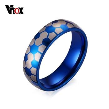 Vnox fútbol estilo anillos para hombres joyería del partido azul de la manera anillos de acero inoxidable anillo de ee.uu. tamaño