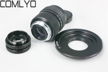 "COMLYO Camera Lens Adapter Black C Mount 25mm F/1.4 CCTV 1/2"" Lens for Canon EOS M + C-EOS M +2 Macro Rings Camera Accessories"