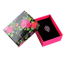 Free shipping wholesale 50pcs/lot 8.5*6.5*3.5CM Rose Earring Ring Pedant Jewelry Box Necklace Packaging Paper Box