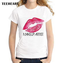 768b089e7bb TEEHEART Women Fashion Red Lip Design T shirt for women Novelty Tops Lady  Makeup Artist Design Short Sleeve Tees px575