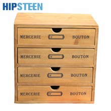 HIPSTEEN Household Essentials 4-Drawer Wooden Storage Chest Box Office Desktop Organizer New Zealand Pine(China)